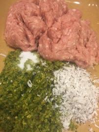 The processed spices, salt, kopra, minced chicken